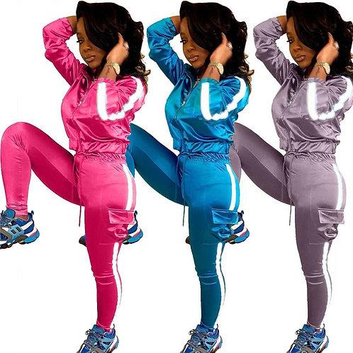 Women Workout Set  Long Sleeve Zipper Top and Pants