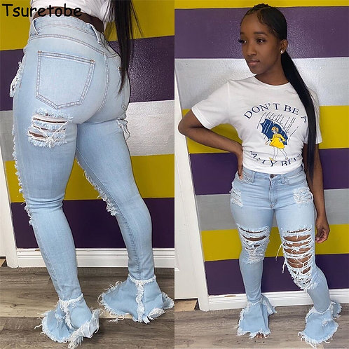 Ripped Jeans for Women High Waist Vintage Flare Jean Bell Bottom