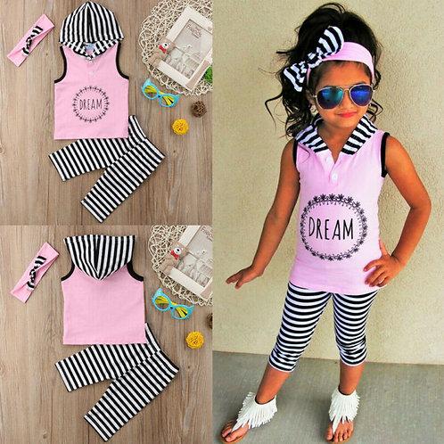 Toddler Kids Baby Girl 1t-6t Hoodie Top Pants Striped Leggings Headband