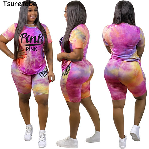 Pink Letter Print 2 Piece Set Womens Outfits Tie Dye