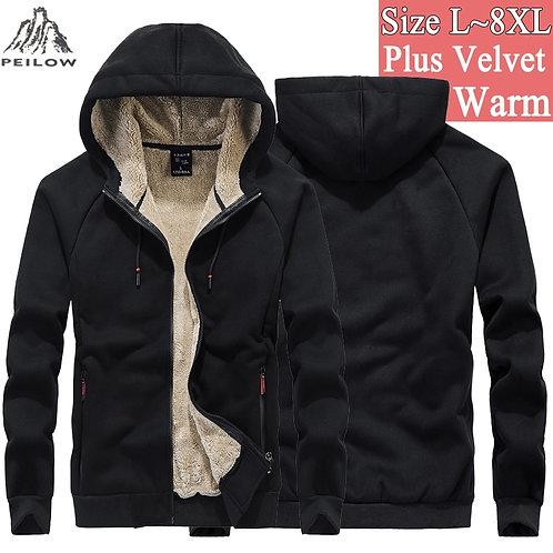 Mens 6XL 7XL 8XL Winter Thicken Fleece Streetwear  Hoodies