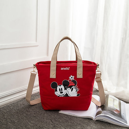 Disney Mickey Mouse Lady Canvas Shoulder Bag Cartoon Fashion Minnie Handbag