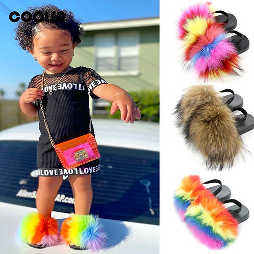 Children Fur Slippers Kids Fur Slides With Strap Fluffy Fox Fur