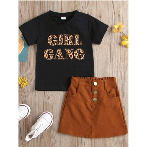 Girl Casual Letter Print Button Design Black Two Piece Skirt Set