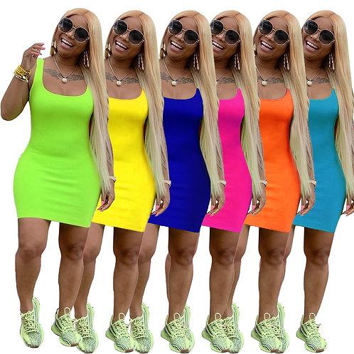 Women Summer O-Neck Sleeveless Bodycon