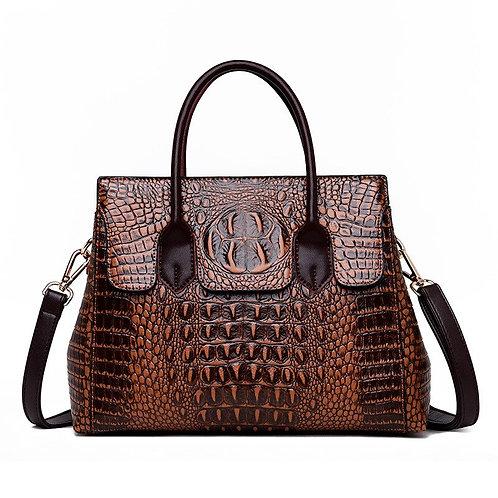 Vintage Genuine Leather Bag Women Alligator Luxury Handbags Women
