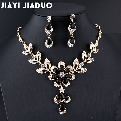 Hot African Female Costume Jewelry Set for Women Gold Color Black Red Set