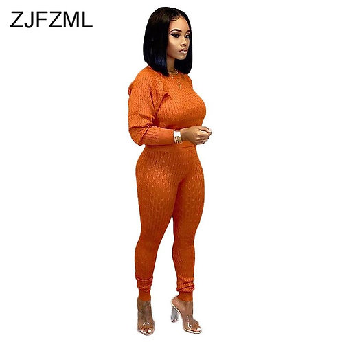 Sweater Knitted Two Piece Set Tracksuit for Women