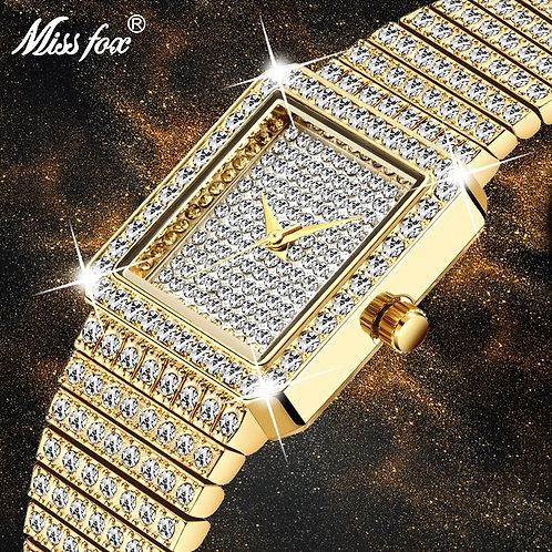 Women Luxury Brand Ladies Gold Square Watch Iced Out