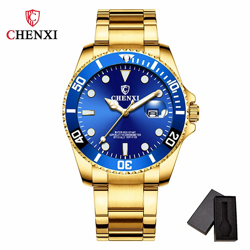 Gold Men Watch Unique Blue Golden Watch