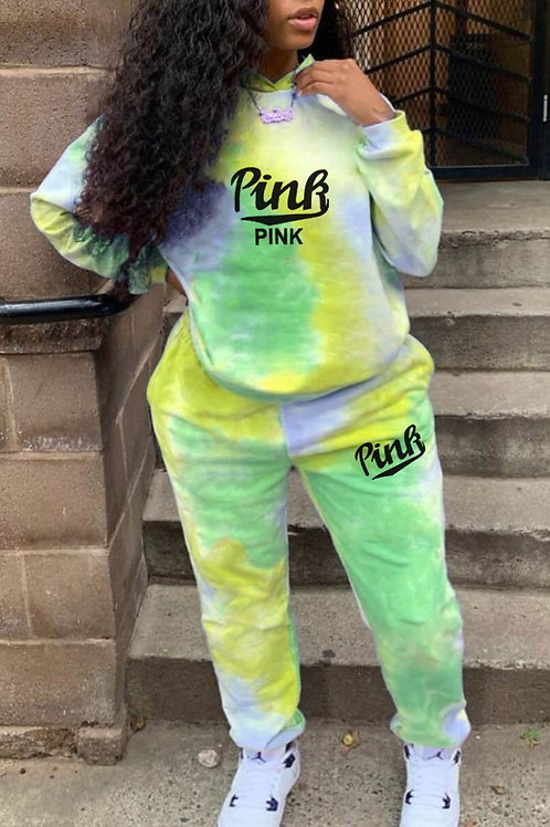 Fashion Casual Letter Print Tie-dye Hooded Collar Long Sleeve Two Pieces