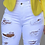 Thumbnail: Dark Blue Casual Patchwork Ripped Mid Waist Straight Denim Shorts