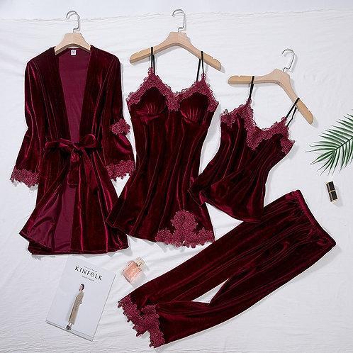 Burgundy Velour Pajama Suit Women 4PCS Kimono Robe Nightgown Set
