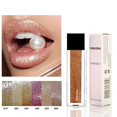 Gold Glitter Lips Makeup Lip Gloss Mae Lipgloss Waterproof Red Liquid Lipstick