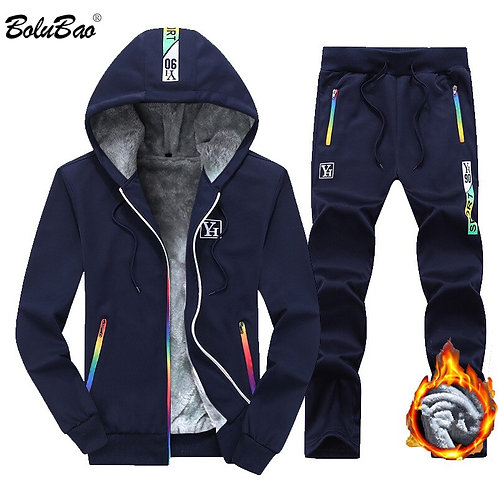 Men's Hooded Jacket + Pant 2 Piece Sportswear Sets Fashion Casual Suit Set Male