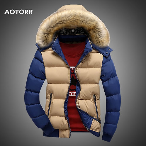 Men Down Jacket  Casual Hooded Fur Solid Thick Fleece Zipper Jackets