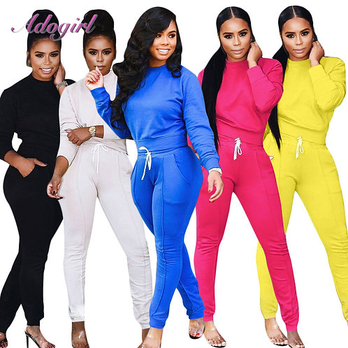 Women Tracksuit Two Piece Set Casual Solid Long Sleeve O Neck Crop Tops T-Shirt