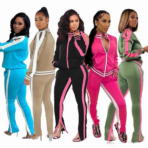 Casual Women Two Piece Set Crop Top Coat +Pants With Pocket Color Patchwork