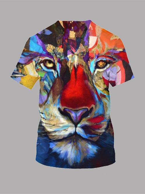 Men Casual Tiger Print Patchwork Multicolor T-shirt