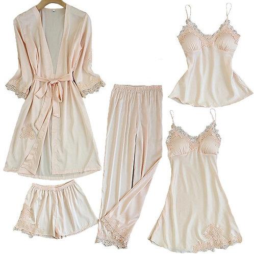 Satin Lace Pajamas Sets Womens 5PC Strap Top Pants Suit Sleepwear  M-Xl