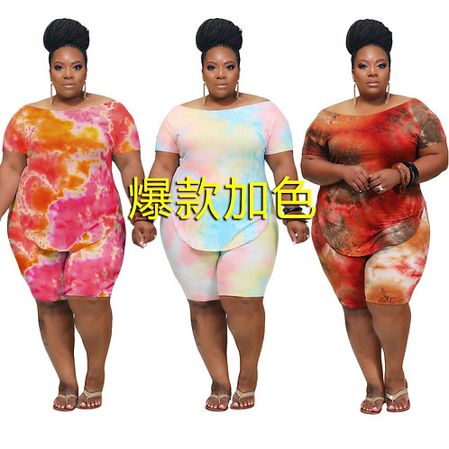 Two Piece Plus Size Tie Dye Top and Shorts Set for Women