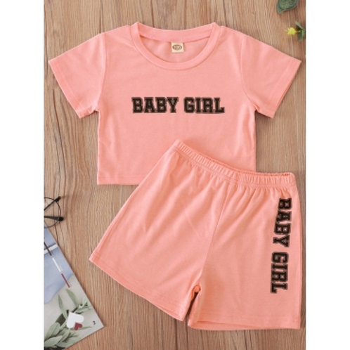 Girl Casual O Neck Letter Print Pink Two Piece Shorts Set