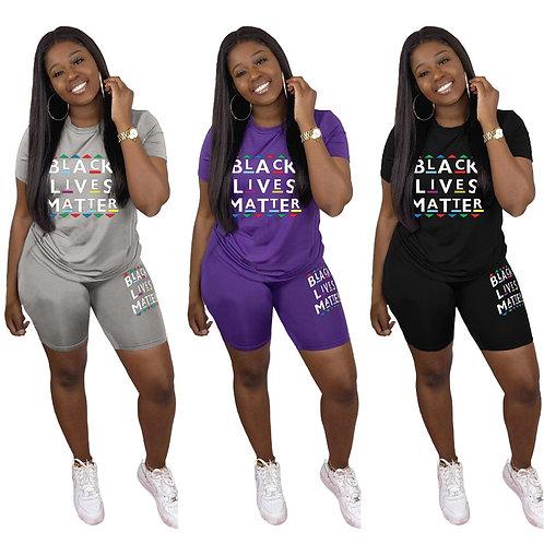 Two Piece Set Women  Black Lives Matter T Shirt and Short Set