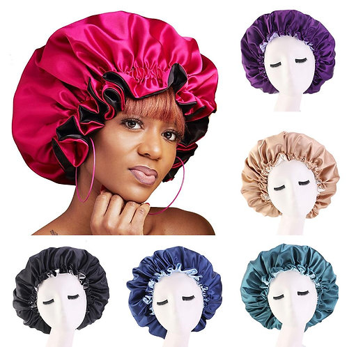 Women Night Sleep Cap Satin Elastic Bonnet Hat