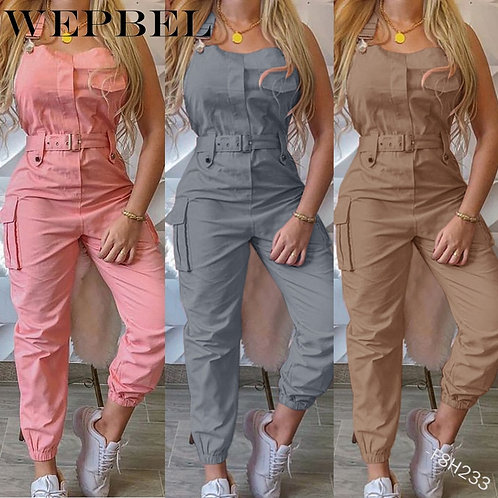 Women Casual Cargo Playsuit Sleeveless O Neck Jumpsuit With Pocket and Belt