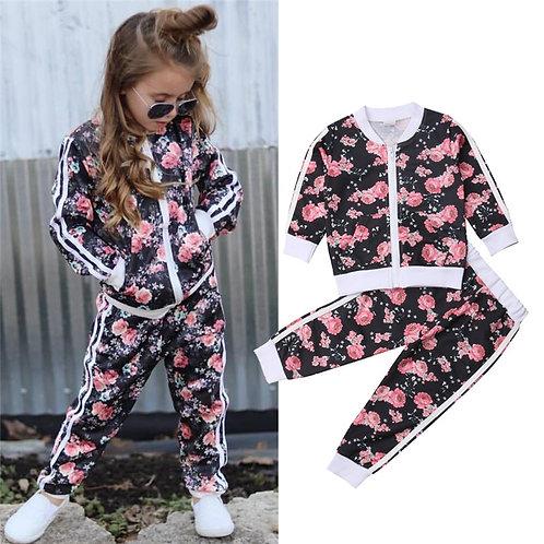 2-7t Kids Girls Clothes Set Floral Print Long Sleeve Sweatshirt Long Pants