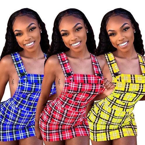 Women Preppy Dress Cute Sleeveless Slash Neck Sling  Backless Plaid Mini Dress