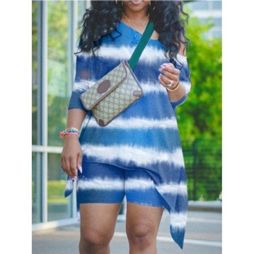 Stylish Tie-dye Asymmetrical Blue Plus Size Two-piece Shorts Set