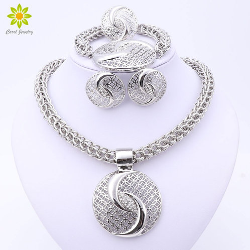 Big Dubai Silver Plated Crystal Necklac Jewelry Sets