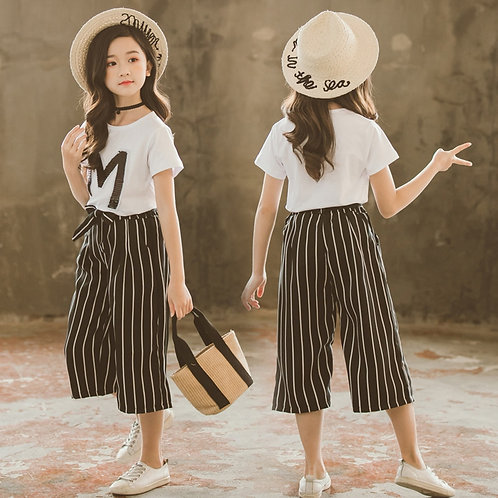 Teen Kids Girls Letter Short Sleeve Tops Stripe Wide Leg Pants Outfits Set