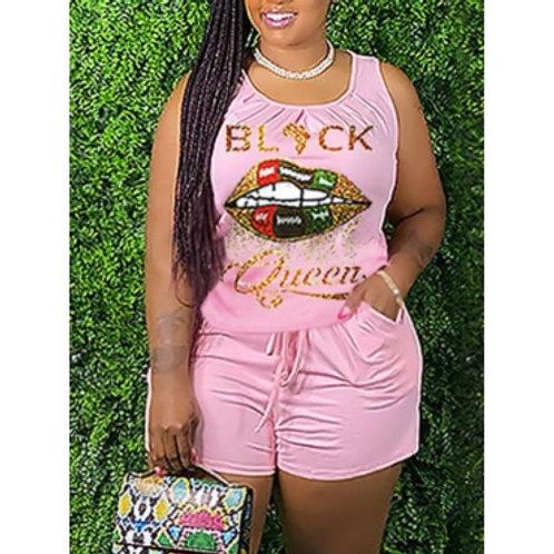 Casual Letter Lip Print Drawstring Pink Plus Size Two-piece Shorts Set
