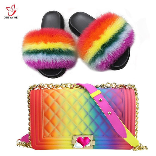 100% Real Fox Fur Slippers Women Fur Slides Fur Flip Flops Women Shoes  Bags Set