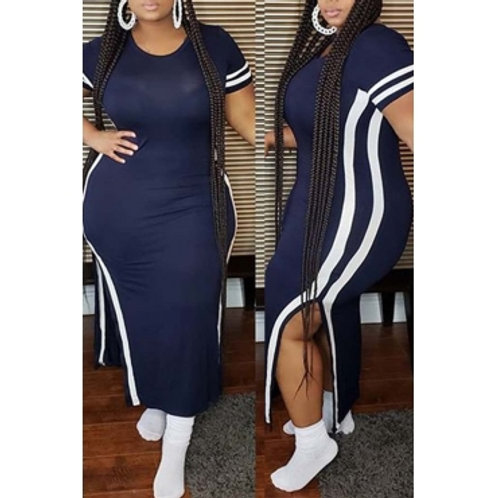 Casual Patchwork Dark Blue Ankle Length Plus Size Dress