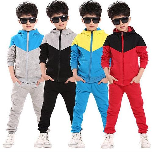 Boys Jogging Tracksuit Set Hooded Patchwork Coat + Pants Cotton