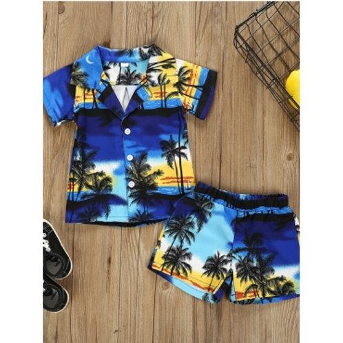 Boy Boho Landscape Plant Print Blue Two Piece Shorts Set