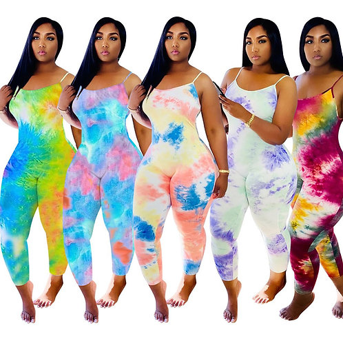 Tie Dye Rompers Womens Jumpsuit Spaghetti Strap Sleeveless One Piece Outfit