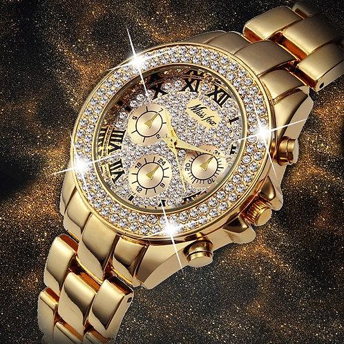 Women Watches Luxury Watch Women Fake Chronograph Roman Numerals 18K Gold