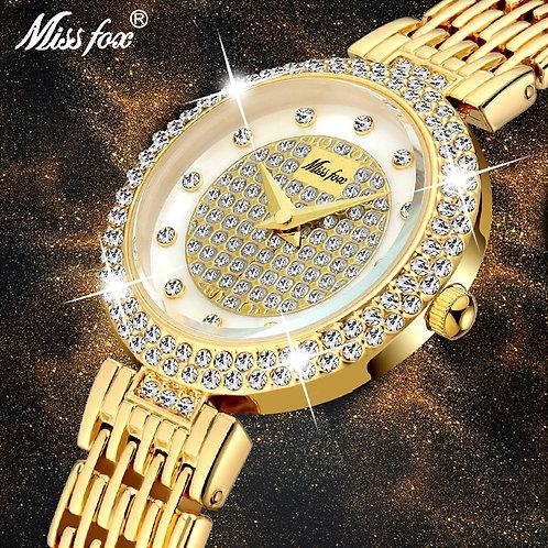 Women's Watches Fashion Luxury Brand Full Lab Diamond Gold