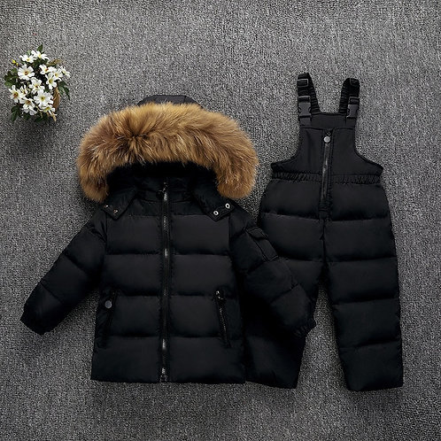 Children Boys Clothes Set Down Jacket Coat + Overalls