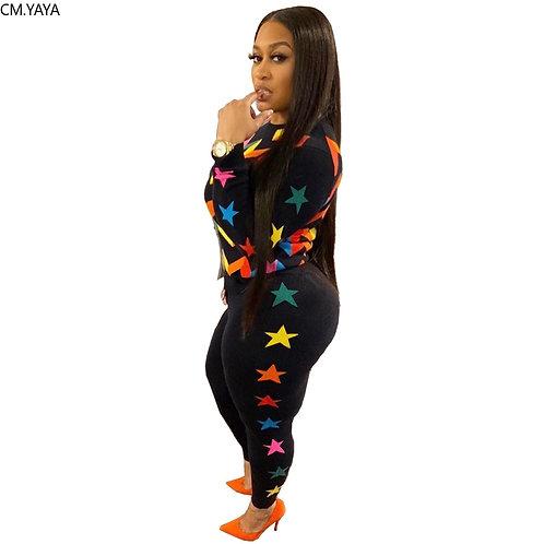 Women Sets Star Print Tracksuits FullSleeve Top+Pants Suit Two Piece Set