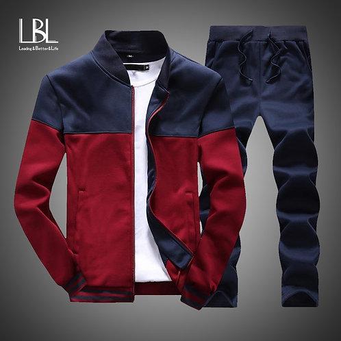 Men Sets Fashion Sporting Suit Brand Patchwork Zipper Sweatshirt +Sweatpants