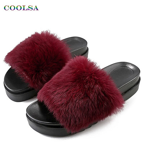 Women Long Plush Slippers Fluffy Rabbit Hair Fur Slides