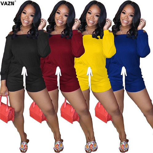 Active Wear Lady Sexy Women Short Long Sleeve O-Neck Bandage Rompers