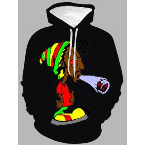 Casual Hooded Collar Cartoon Print Black Men Hoodie