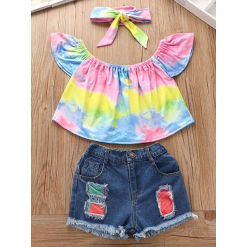 Girl Sweet Tie Dye Ruffle Design Ripped Pink Two Piece Shorts Set(With Headband)