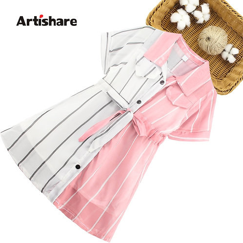Girls Dress Striped Blouse Dress